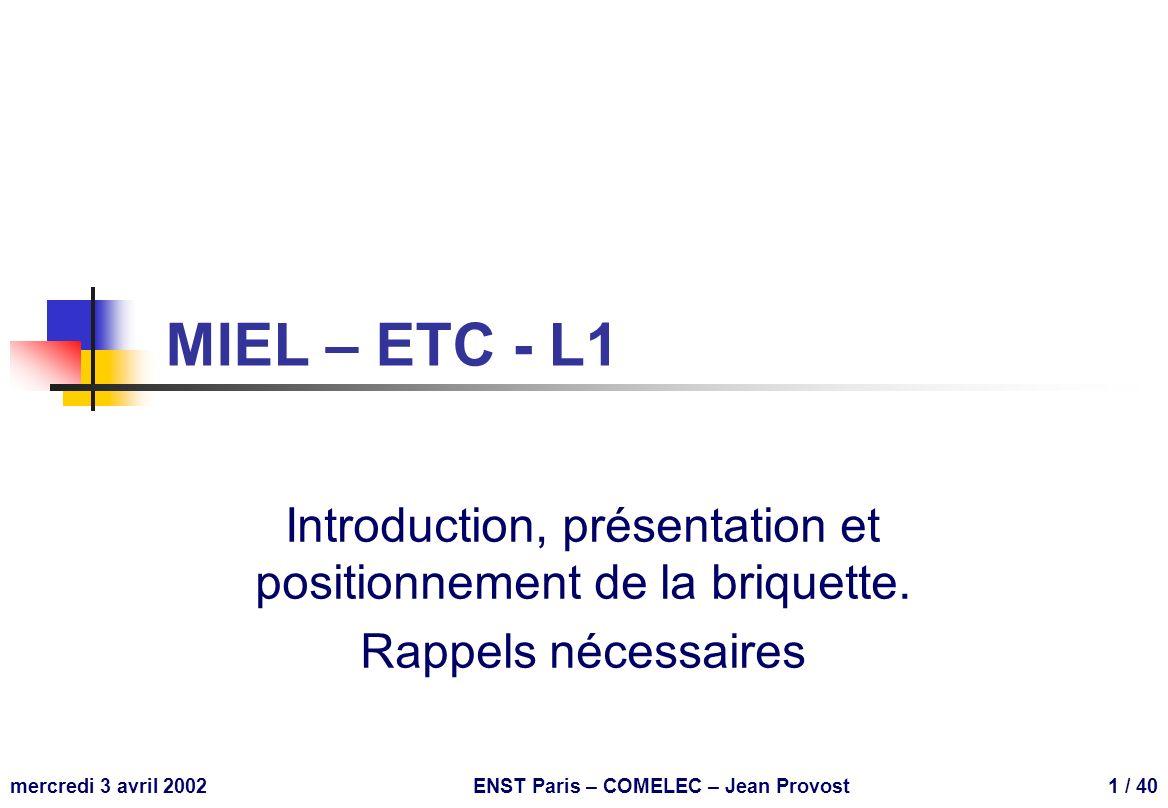 ENST Paris – MIEL – L1 32 W t ix =1µm P-P- B N B=1*10 21 m -3 N-N- B P P=8*10 21 m -3 processus technologique CMOS Si t ox =5nm PSG t=1µm locos t oc =0,6µm P+P+ SD P C BN B N+N+ SD N C BP As TiSi 2 siliciure poly t ix =0,4µm SiO 2 V dd 0 Al Cu t ix =1µm es