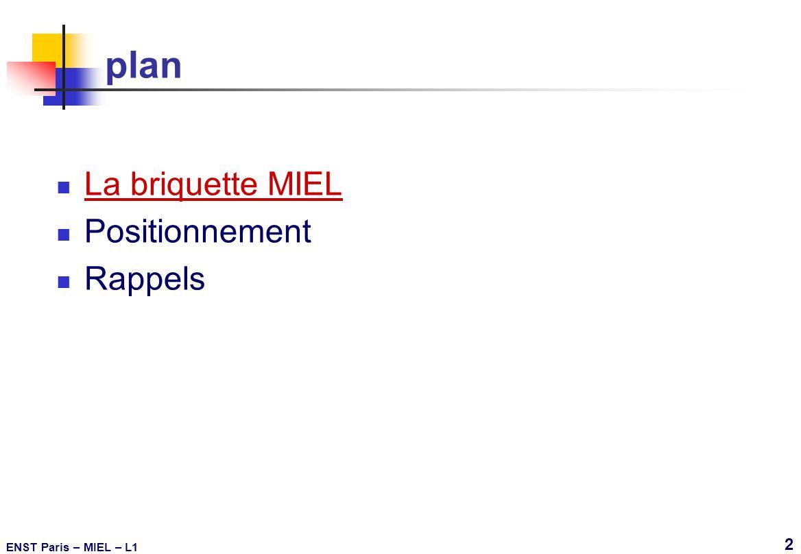 ENST Paris – MIEL – L1 43 Réduction des dimensions les interconnexions B Si P - isolant de champ SiO 2 t oc t ix L ix W ix Si poly connexion