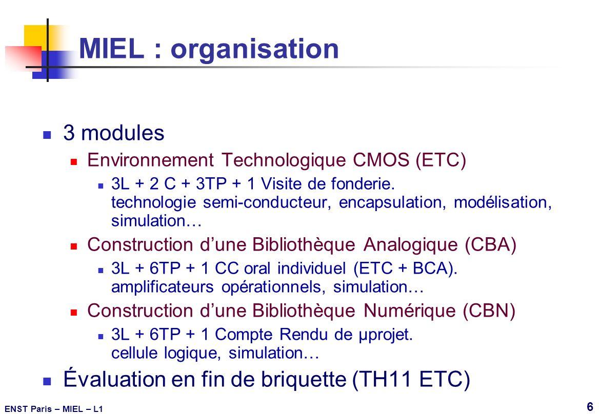 ENST Paris – MIEL – L1 37 Introduction à lencapsulation (3) Au travers 2 côtés opposés b 2,54mm DIP QFP En surface 4 côtés 1mm b 0,4mm CSP BGA En surface Sous toute laire 1,27mm b 1mm Nb = nombres de broches = nb_e/s de la puce Ap = aire de la puce Ab = aire du boîtier b = pas de brochage