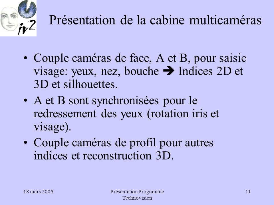 18 mars 2005Présentation Programme Technovision 11 Présentation de la cabine multicaméras Couple caméras de face, A et B, pour saisie visage: yeux, nez, bouche Indices 2D et 3D et silhouettes.