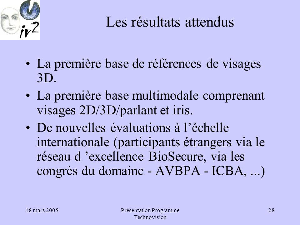 18 mars 2005Présentation Programme Technovision 28 Les résultats attendus La première base de références de visages 3D.