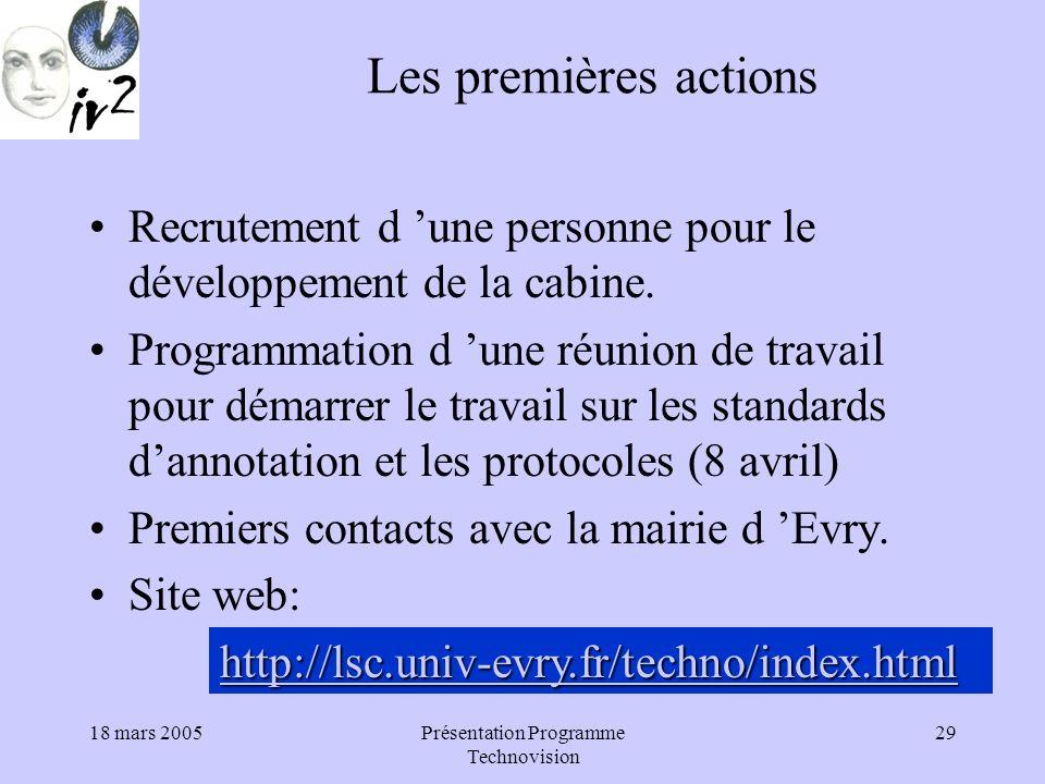 18 mars 2005Présentation Programme Technovision 29 Les premières actions Recrutement d une personne pour le développement de la cabine.