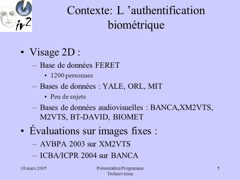 18 mars 2005Présentation Programme Technovision 16 Déclaration à la CNIL.