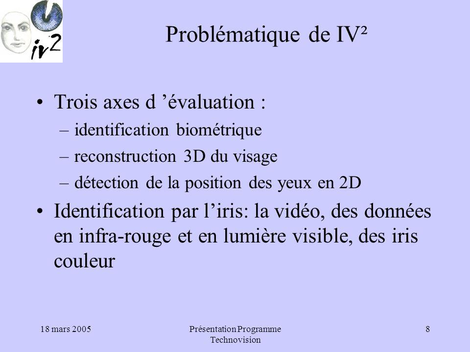 18 mars 2005Présentation Programme Technovision 8 Problématique de IV² Trois axes d évaluation : –identification biométrique –reconstruction 3D du visage –détection de la position des yeux en 2D Identification par liris: la vidéo, des données en infra-rouge et en lumière visible, des iris couleur