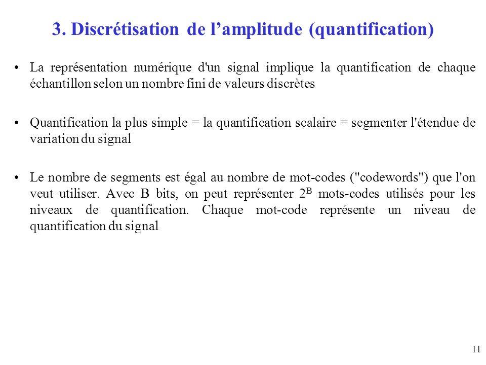 11 3. Discrétisation de lamplitude (quantification) La représentation numérique d'un signal implique la quantification de chaque échantillon selon un