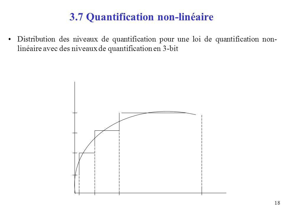 18 3.7 Quantification non-linéaire Distribution des niveaux de quantification pour une loi de quantification non- linéaire avec des niveaux de quantif