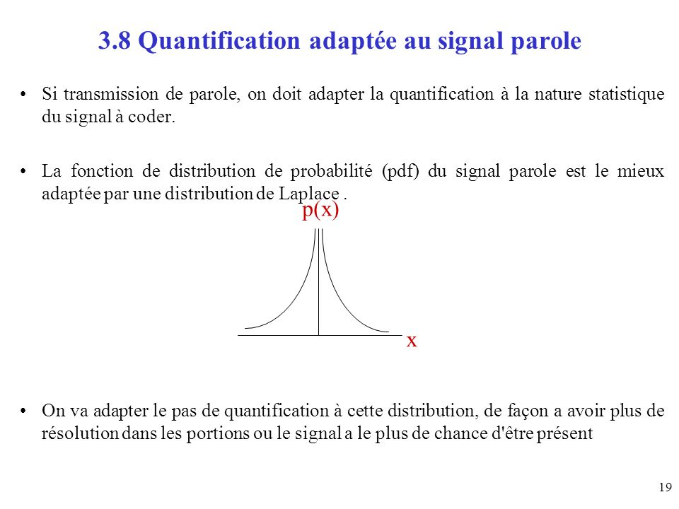 19 3.8 Quantification adaptée au signal parole Si transmission de parole, on doit adapter la quantification à la nature statistique du signal à coder.