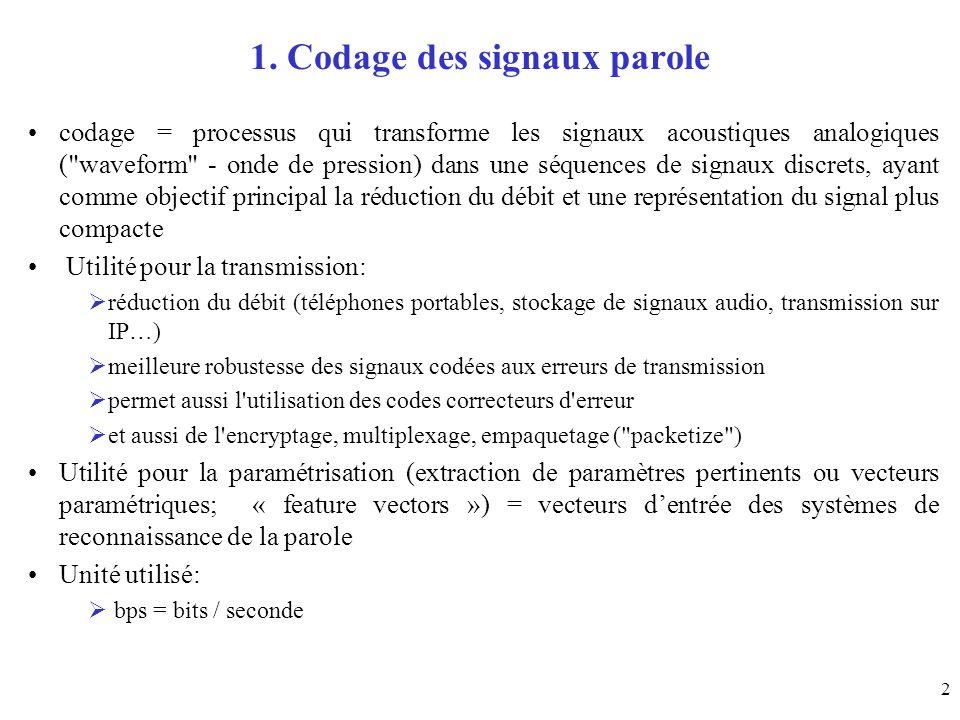 63 Débits de codage 1.Signal dans la bande téléphonique (f e = 8 kHz) Réseau téléphonique classique 64 kbits/s : MIC (PCM, G.711) norme CCITT en 1972 32 kbits/s : MICDA (ADPCM, G.721) en 1984 16 kbits/s : LD CELP en 1991 Téléphones mobiles 13 kbits/s : GSM (norme européenne) en 1989 6.5 kbits/s : ½ GSM (norme européenne) en 1991 8 kbits/s : norme nord-américaine en 1991 Communications sécurisées pour les liaisons entre organismes intergouvernementaux, applications militaires (norme OTAN), communications satellitaires (MSAT et INMARSAT) 2.4 kbits/s : standard gouvernemental américain LPC10 2.Signal en bande élargie (f e = 16 kHz) 64 kbits/s : norme G.722 (2 codages ADPCM distincts pour 2 sous-bandes) 3.Signal Hi Fi (f e = 44.1 kHz) 700 kbits/s : codage sur un CD-ROM