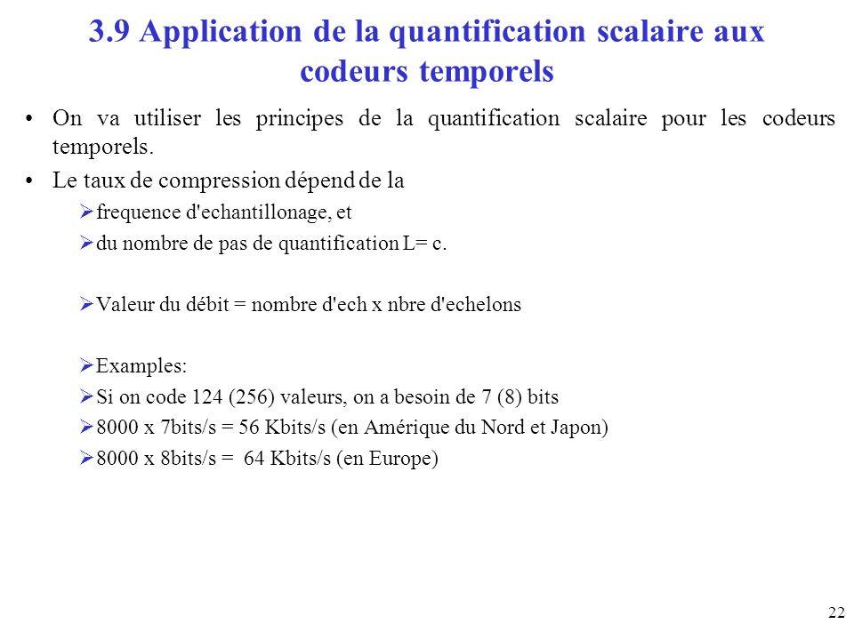 22 3.9 Application de la quantification scalaire aux codeurs temporels On va utiliser les principes de la quantification scalaire pour les codeurs tem