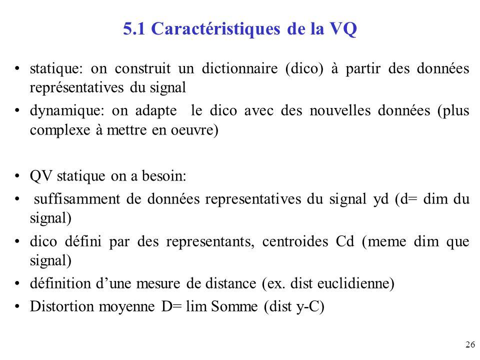 26 5.1 Caractéristiques de la VQ statique: on construit un dictionnaire (dico) à partir des données représentatives du signal dynamique: on adapte le
