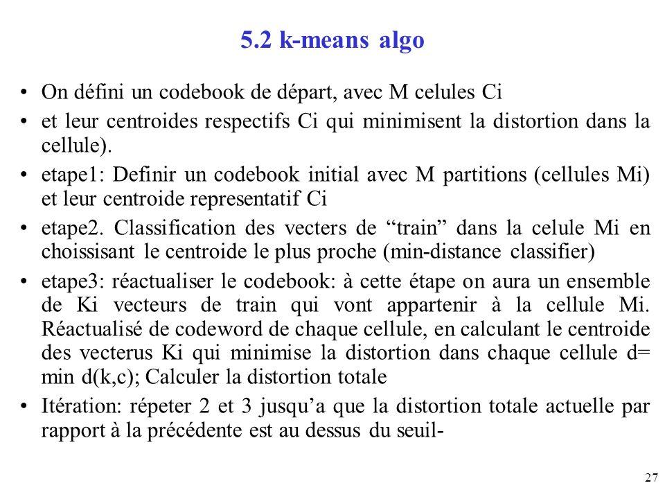 27 5.2 k-means algo On défini un codebook de départ, avec M celules Ci et leur centroides respectifs Ci qui minimisent la distortion dans la cellule).