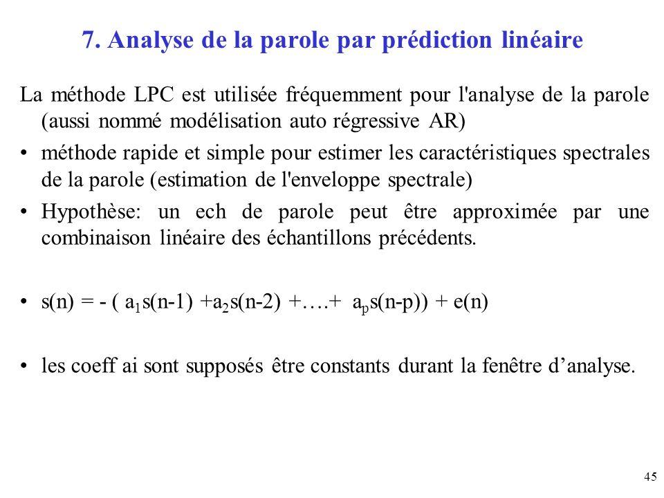 45 7. Analyse de la parole par prédiction linéaire La méthode LPC est utilisée fréquemment pour l'analyse de la parole (aussi nommé modélisation auto