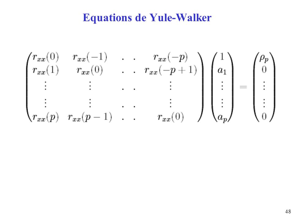 48 Equations de Yule-Walker