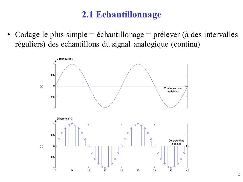 5 2.1 Echantillonnage Codage le plus simple = échantillonage = prélever (à des intervalles réguliers) des echantillons du signal analogique (continu)
