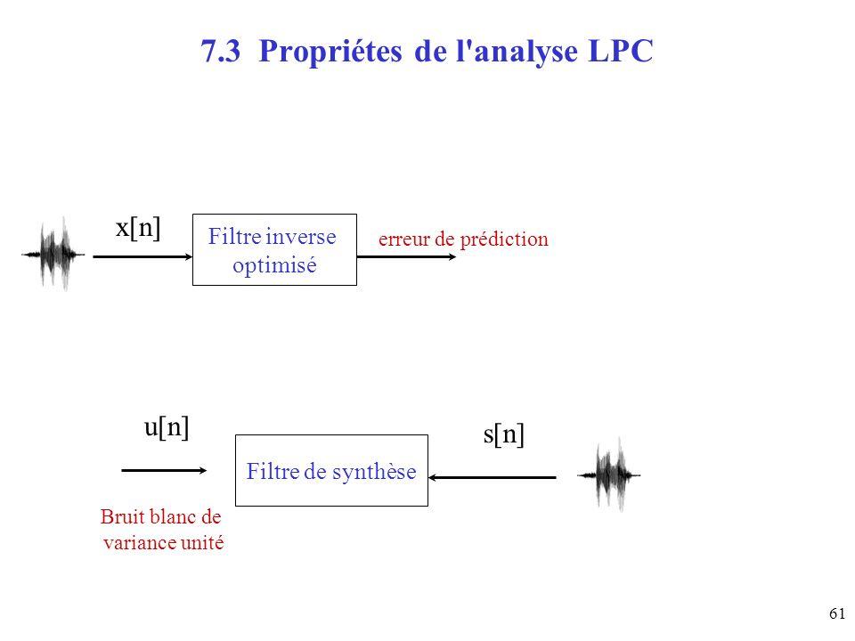 61 7.3 Propriétes de l'analyse LPC Filtre inverse optimisé x[n]u[n] Filtre de synthèse s[n] erreur de prédiction Bruit blanc de variance unité