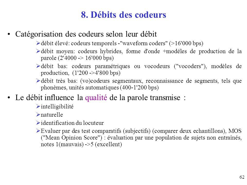 62 8. Débits des codeurs Catégorisation des codeurs selon leur débit débit élevé: codeurs temporels -