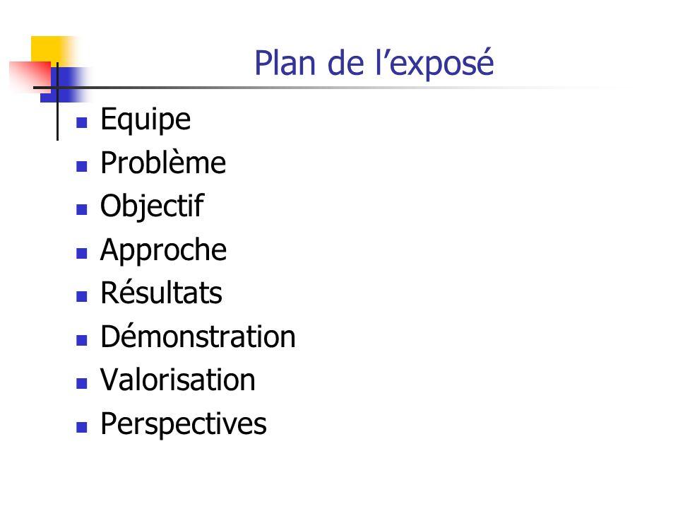 Plan de lexposé Equipe Problème Objectif Approche Résultats Démonstration Valorisation Perspectives