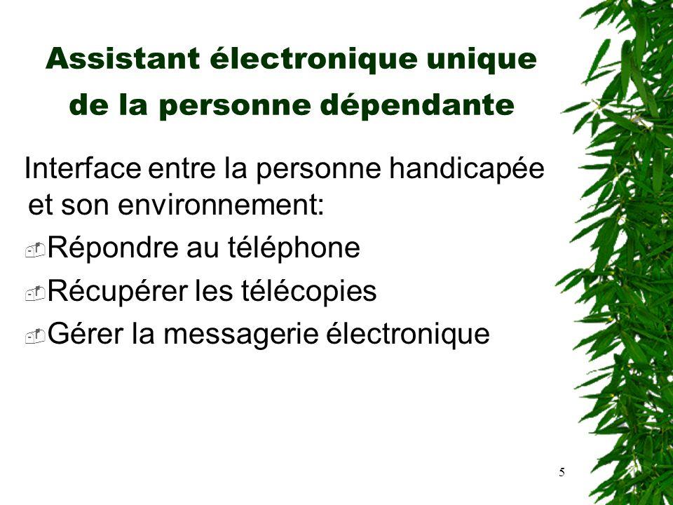 5 Assistant électronique unique de la personne dépendante Interface entre la personne handicapée et son environnement: Répondre au téléphone Récupérer