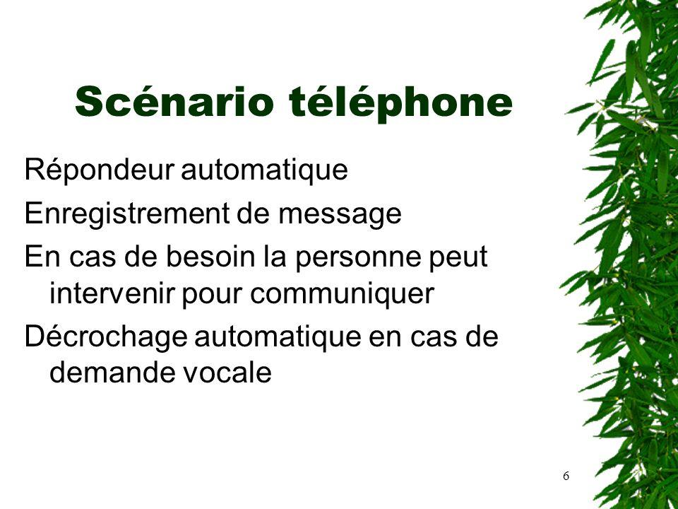 6 Scénario téléphone Répondeur automatique Enregistrement de message En cas de besoin la personne peut intervenir pour communiquer Décrochage automati