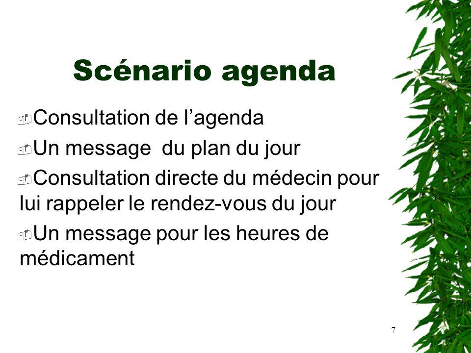 7 Scénario agenda Consultation de lagenda Un message du plan du jour Consultation directe du médecin pour lui rappeler le rendez-vous du jour Un messa