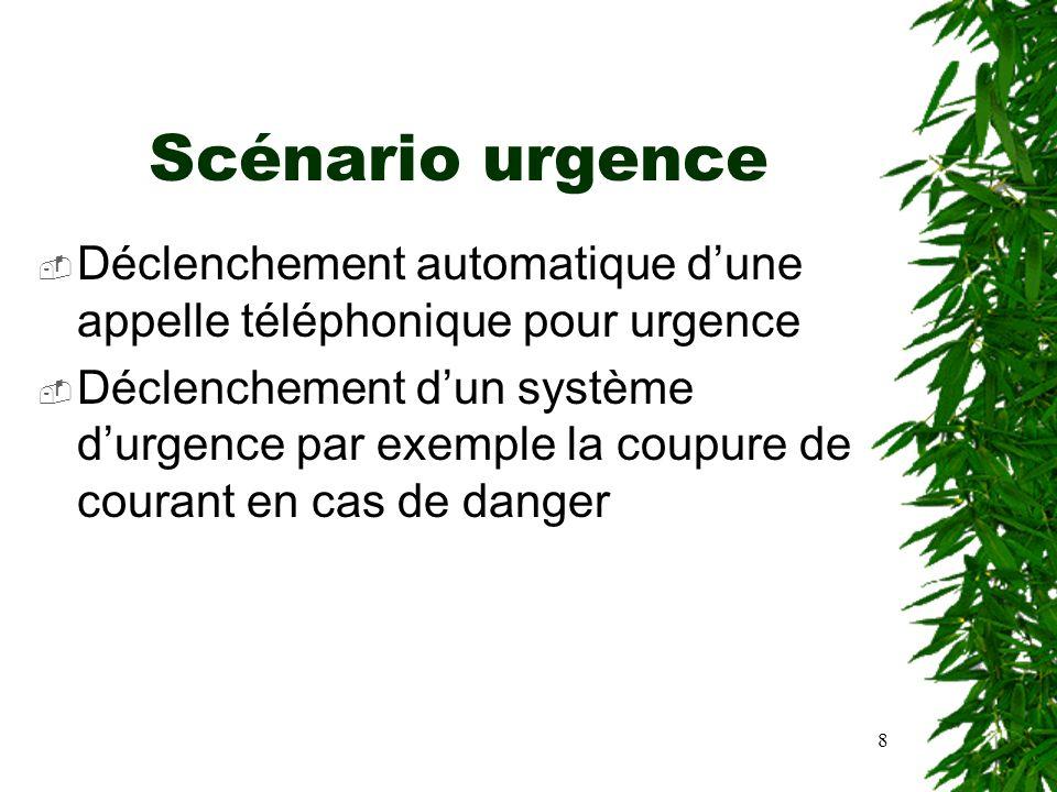 8 Scénario urgence Déclenchement automatique dune appelle téléphonique pour urgence Déclenchement dun système durgence par exemple la coupure de coura