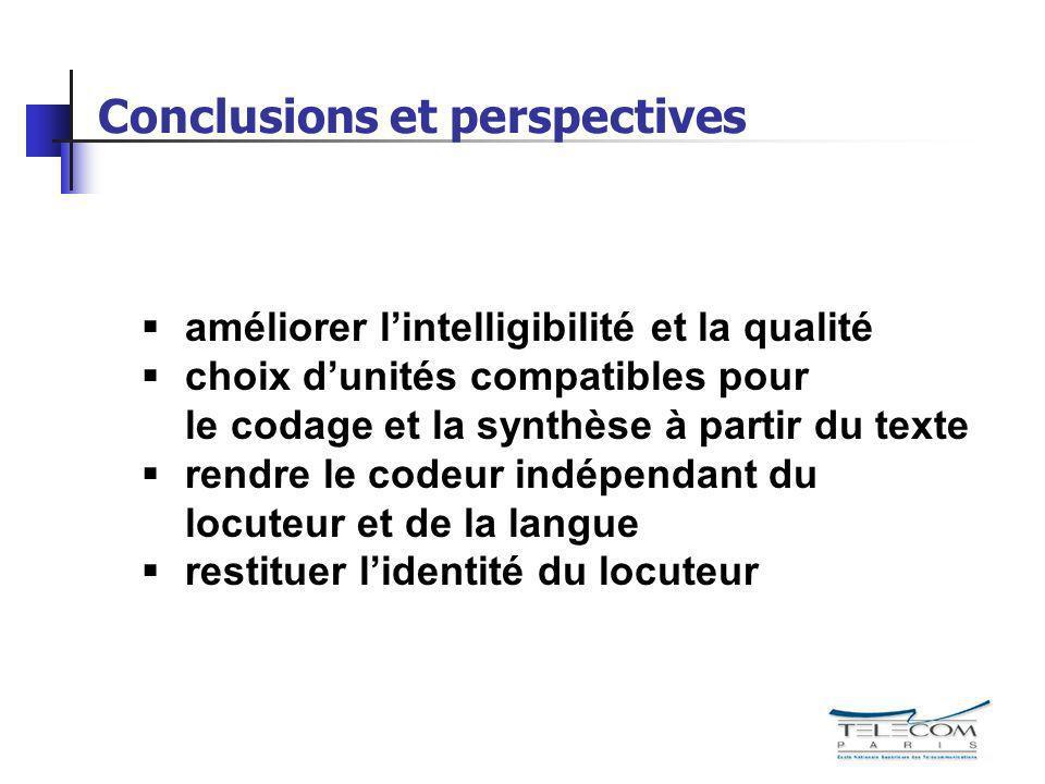 Conclusions et perspectives améliorer lintelligibilité et la qualité choix dunités compatibles pour le codage et la synthèse à partir du texte rendre
