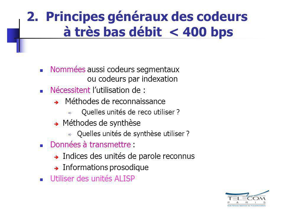 2. Principes généraux des codeurs à très bas débit < 400 bps Nommées aussi codeurs segmentaux ou codeurs par indexation Nécessitent lutilisation de :
