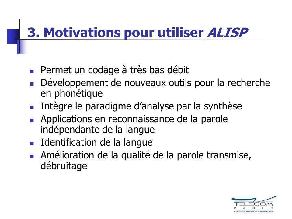 3. Motivations pour utiliser ALISP Permet un codage à très bas débit Développement de nouveaux outils pour la recherche en phonétique Intègre le parad