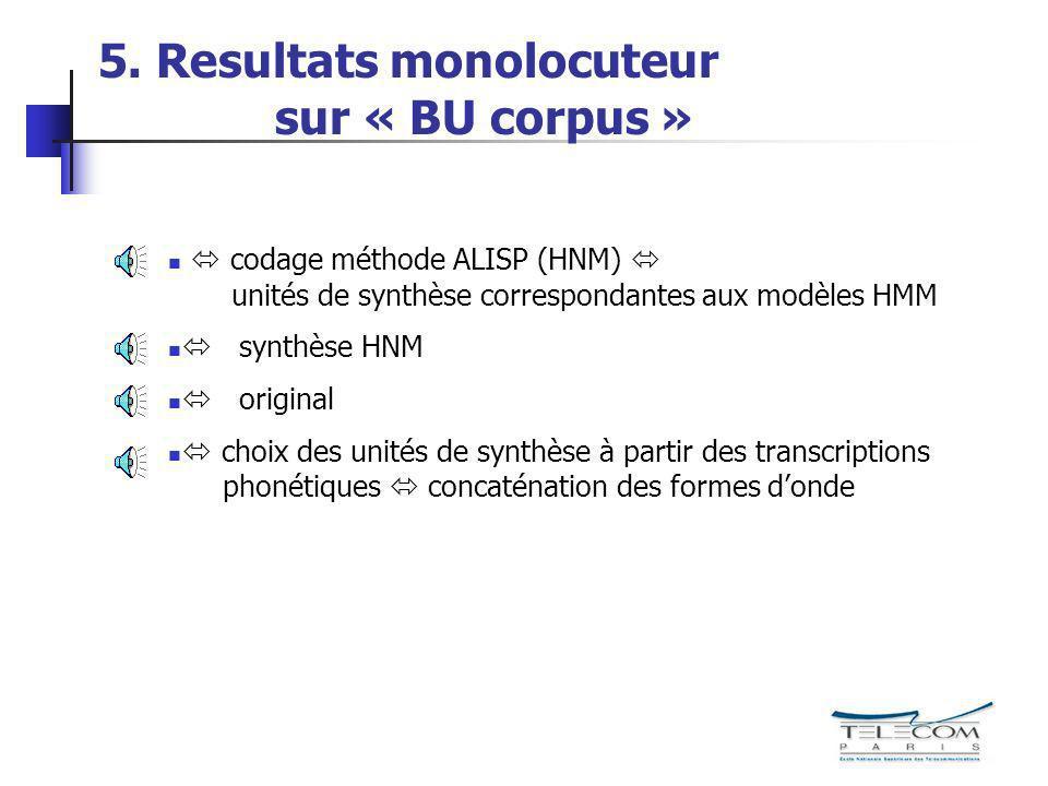 5. Resultats monolocuteur sur « BU corpus » codage méthode ALISP (HNM) unités de synthèse correspondantes aux modèles HMM synthèse HNM original choix