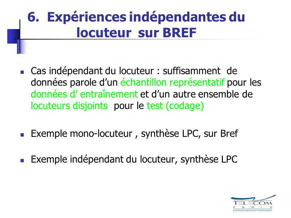 6. Expériences indépendantes du locuteur sur BREF Cas indépendant du locuteur : suffisamment de données parole dun échantillon représentatif pour les