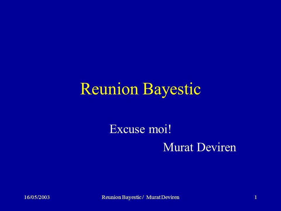16/05/2003Reunion Bayestic / Murat Deviren1 Reunion Bayestic Excuse moi! Murat Deviren