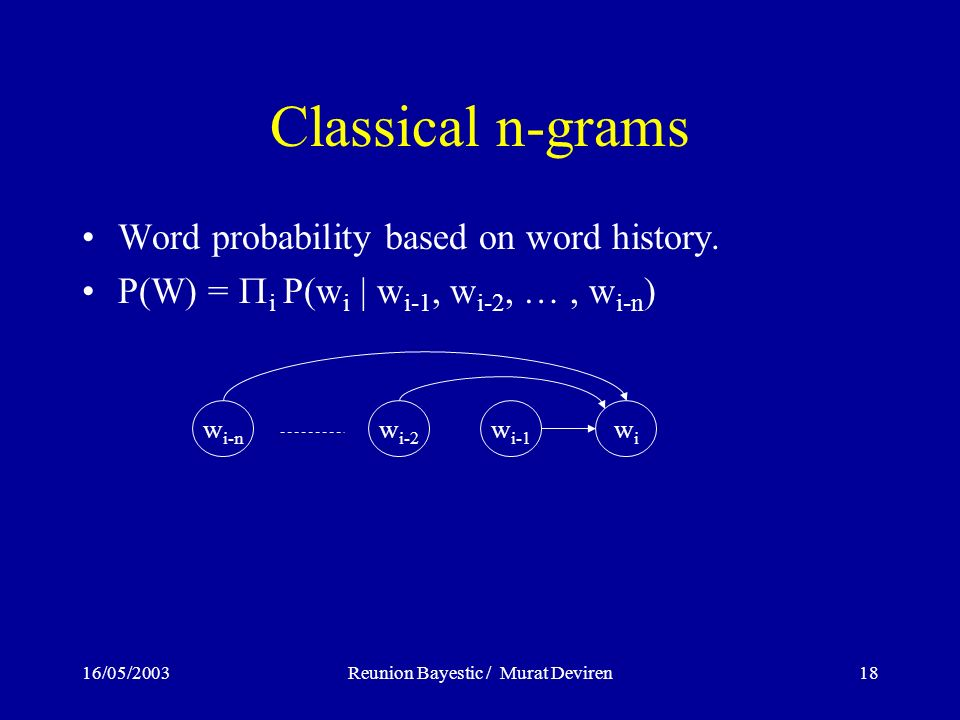 16/05/2003Reunion Bayestic / Murat Deviren18 Classical n-grams Word probability based on word history.