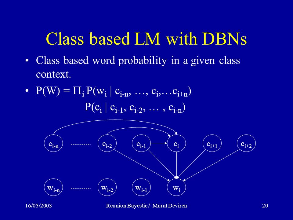 16/05/2003Reunion Bayestic / Murat Deviren20 Class based LM with DBNs Class based word probability in a given class context. P(W) = i P(w i | c i-n, …