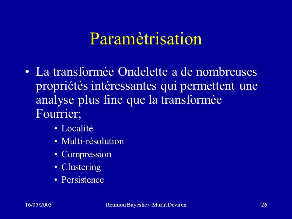 16/05/2003Reunion Bayestic / Murat Deviren26 Paramètrisation La transformée Ondelette a de nombreuses propriétés intéressantes qui permettent une analyse plus fine que la transformée Fourrier; Localité Multi-résolution Compression Clustering Persistence