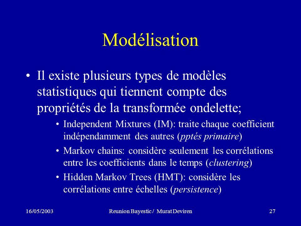 16/05/2003Reunion Bayestic / Murat Deviren27 Modélisation Il existe plusieurs types de modèles statistiques qui tiennent compte des propriétés de la transformée ondelette; Independent Mixtures (IM): traite chaque coefficient indépendamment des autres (pptés primaire) Markov chains: considère seulement les corrélations entre les coefficients dans le temps (clustering) Hidden Markov Trees (HMT): considère les corrélations entre échelles (persistence)