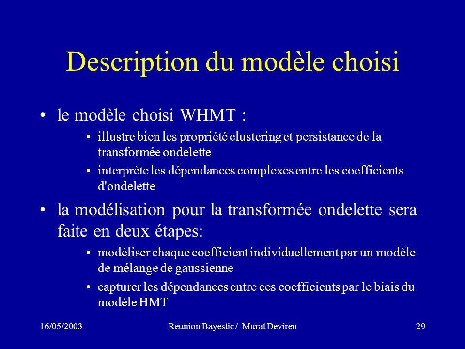 16/05/2003Reunion Bayestic / Murat Deviren29 Description du modèle choisi le modèle choisi WHMT : illustre bien les propriété clustering et persistanc