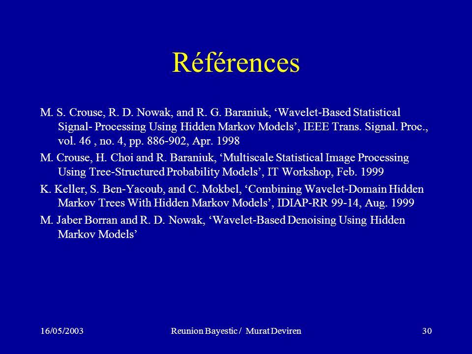 16/05/2003Reunion Bayestic / Murat Deviren30 Références M.