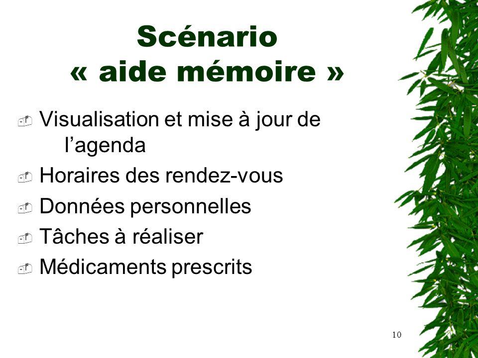 10 Scénario « aide mémoire » Visualisation et mise à jour de lagenda Horaires des rendez-vous Données personnelles Tâches à réaliser Médicaments presc