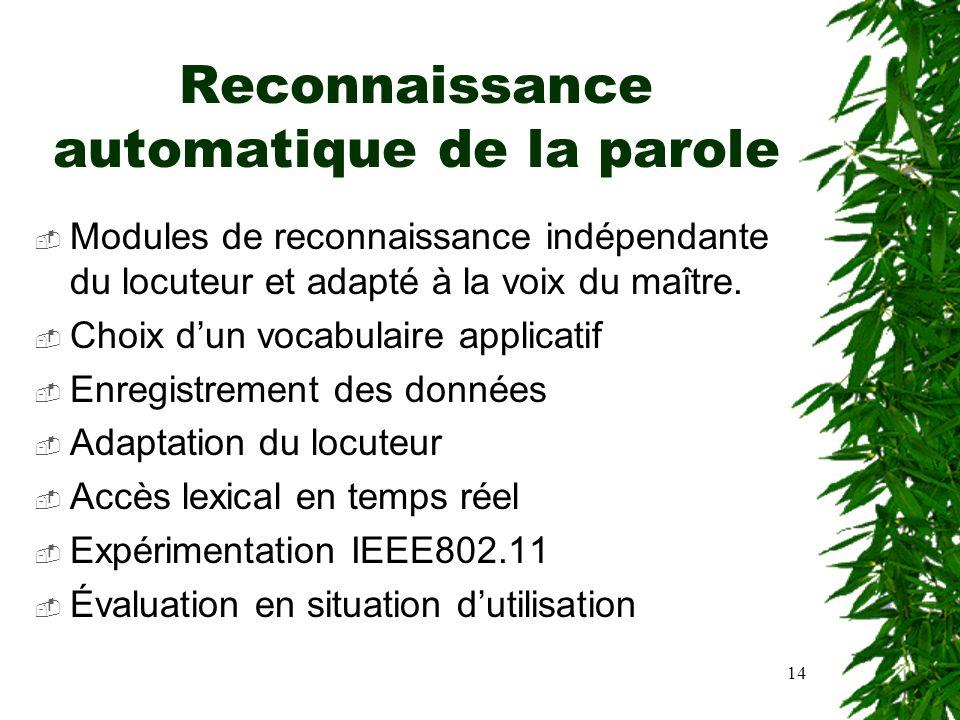14 Reconnaissance automatique de la parole Modules de reconnaissance indépendante du locuteur et adapté à la voix du maître. Choix dun vocabulaire app