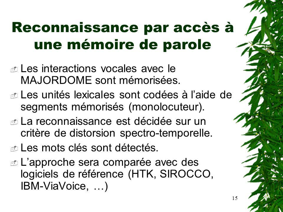 15 Reconnaissance par accès à une mémoire de parole Les interactions vocales avec le MAJORDOME sont mémorisées. Les unités lexicales sont codées à lai