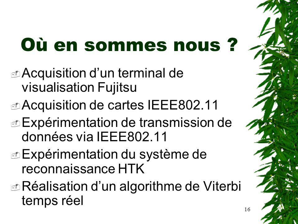 16 Où en sommes nous ? Acquisition dun terminal de visualisation Fujitsu Acquisition de cartes IEEE802.11 Expérimentation de transmission de données v