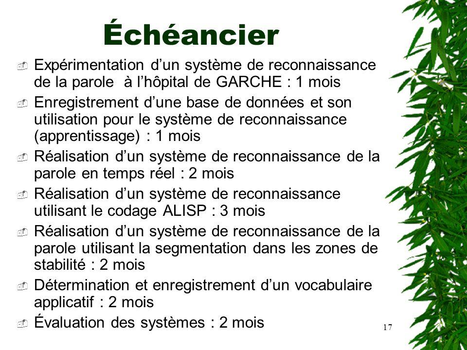 17 Échéancier Expérimentation dun système de reconnaissance de la parole à lhôpital de GARCHE : 1 mois Enregistrement dune base de données et son util