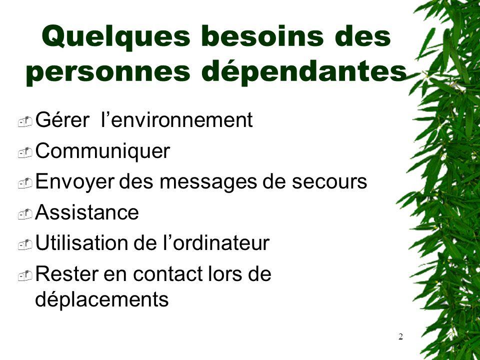 2 Quelques besoins des personnes dépendantes Gérer lenvironnement Communiquer Envoyer des messages de secours Assistance Utilisation de lordinateur Re