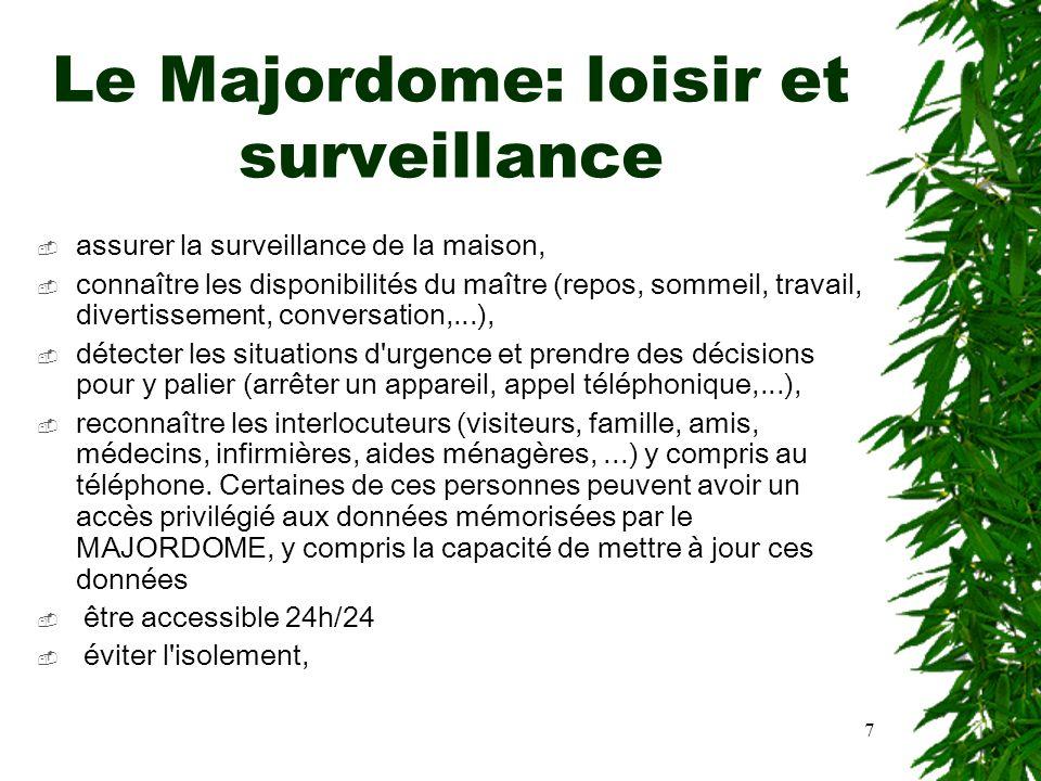 7 Le Majordome: loisir et surveillance assurer la surveillance de la maison, connaître les disponibilités du maître (repos, sommeil, travail, divertis