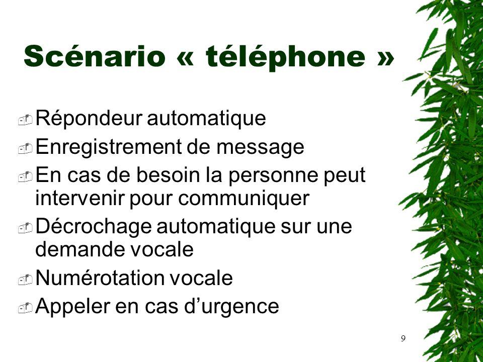 9 Scénario « téléphone » Répondeur automatique Enregistrement de message En cas de besoin la personne peut intervenir pour communiquer Décrochage auto