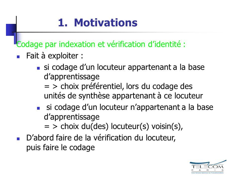 1. Motivations Codage par indexation et vérification didentité : Fait à exploiter : si codage dun locuteur appartenant a la base dapprentissage = > ch
