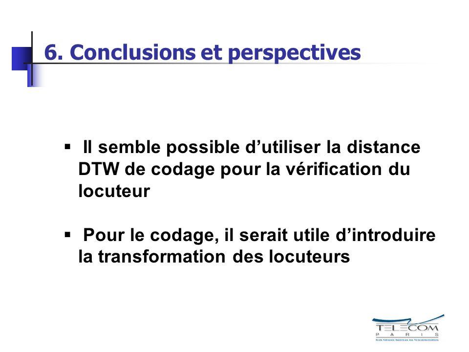 6. Conclusions et perspectives Il semble possible dutiliser la distance DTW de codage pour la vérification du locuteur Pour le codage, il serait utile