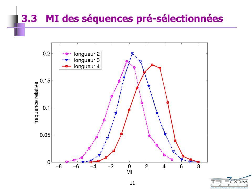 11 3.3 MI des séquences pré-sélectionnées