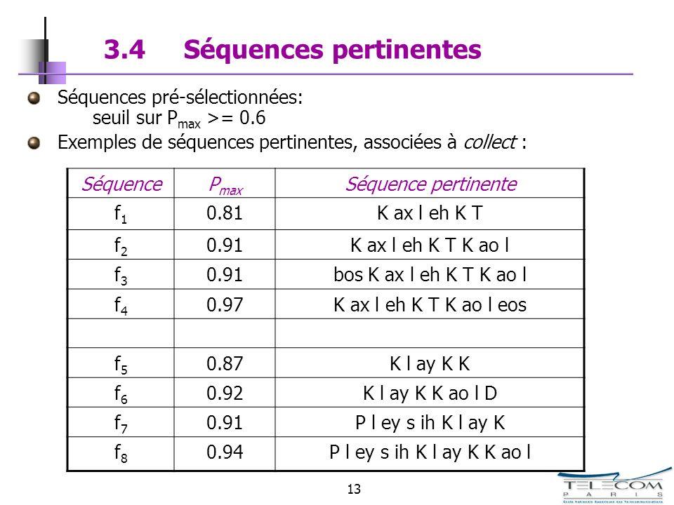 13 3.4 Séquences pertinentes Séquences pré-sélectionnées: seuil sur P max >= 0.6 Exemples de séquences pertinentes, associées à collect : SéquenceP ma