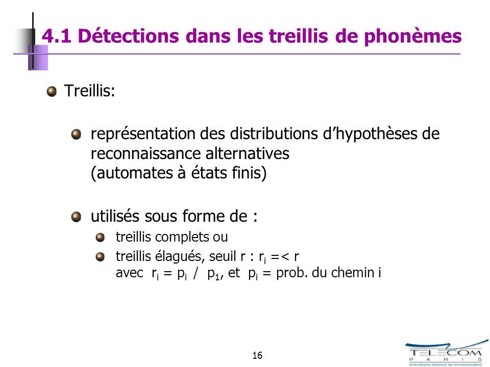 16 4.1 Détections dans les treillis de phonèmes Treillis: représentation des distributions dhypothèses de reconnaissance alternatives (automates à éta